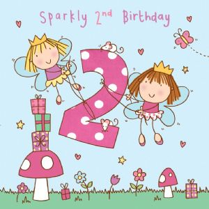 Age 2 Girls Twinkly Birthday Card